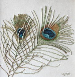 Two Peacock Feathers String Art